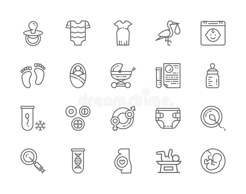 Set of Pregnancy Line Icons. Baby Bottle, Kids Bodysuit, Newborn, Dna and more. royalty free illustration
