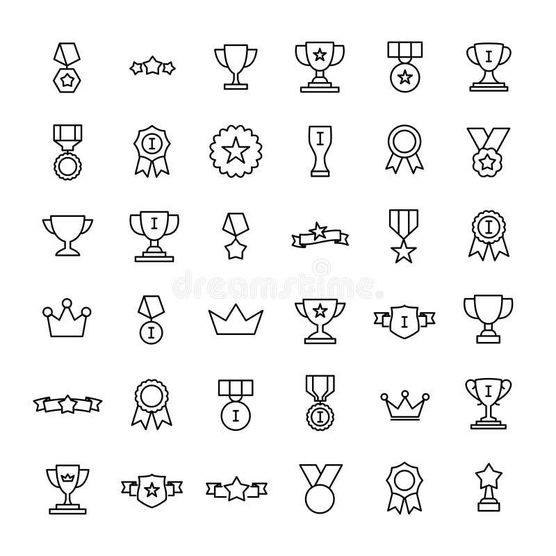 Set premii nagrody ikony w kreskowym stylu ilustracji