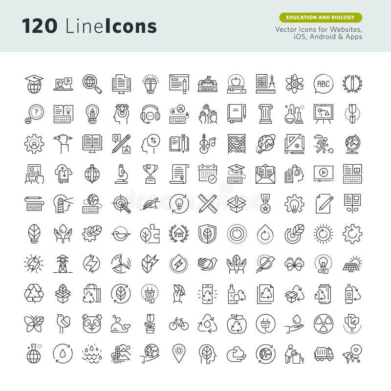 Set premii pojęcia ikony dla edukaci i środowiska ilustracja wektor