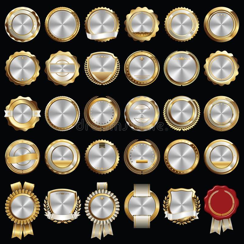 Set premii złota srebra odznaki ilustracji