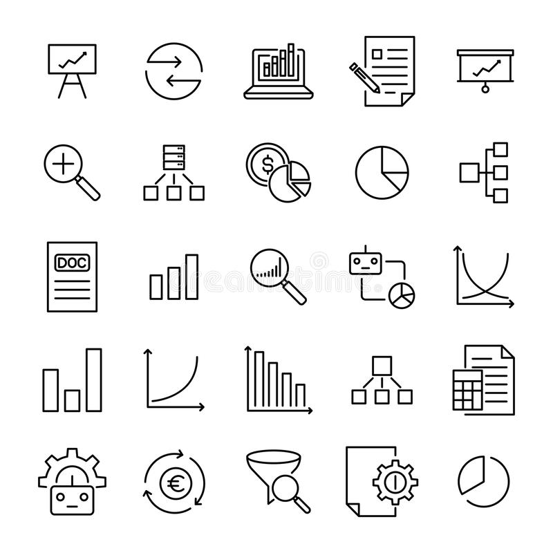 Set of premium analysis icons in line style. royalty free illustration