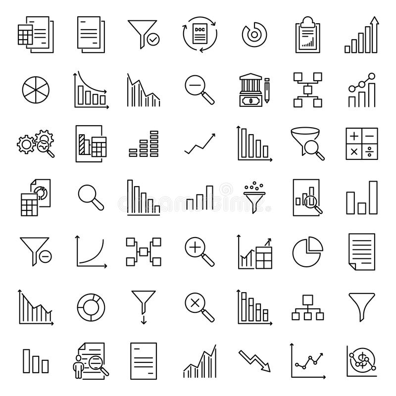 Set Of Premium Analytic Icons In Line Style Stock Vector