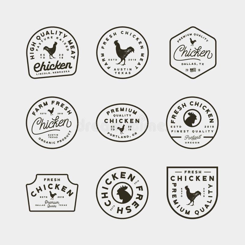Set of premium fresh chicken meat labels. vector illustration royalty free illustration