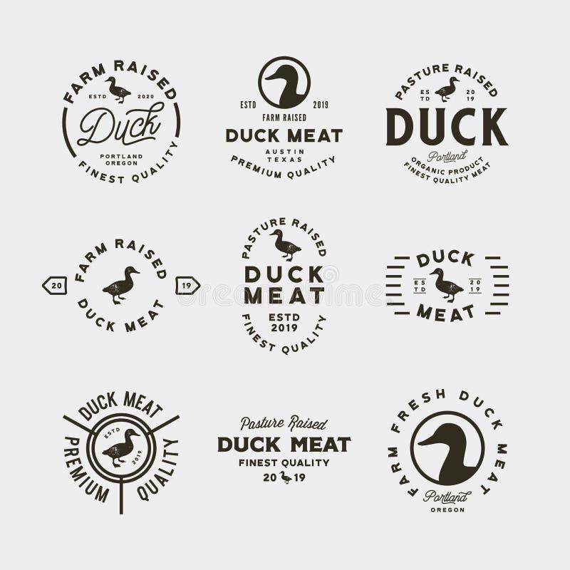 Set of premium fresh duck meat labels. vector illustration stock illustration