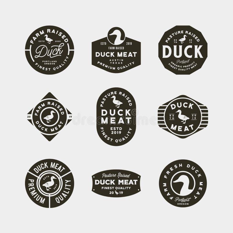 Set of premium fresh duck meat labels. vector illustration vector illustration
