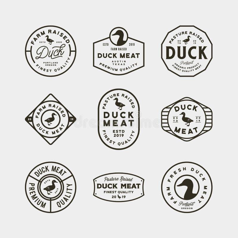 Set of premium fresh duck meat labels. vector illustration royalty free illustration