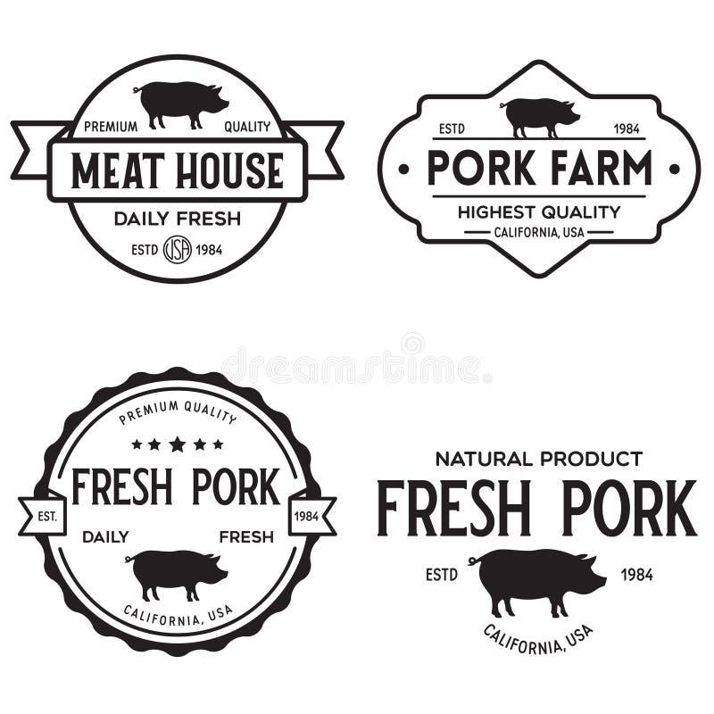 Set of premium pork labels, badges and design elements. Logo for butchery, meat shop, steak house, farm etc stock illustration