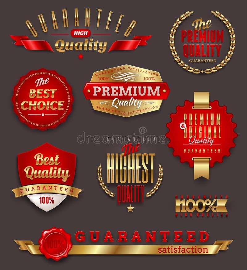 Set of premium quality golden labels. Set of premium quality and guaranteed golden labels, signs and emblems stock illustration