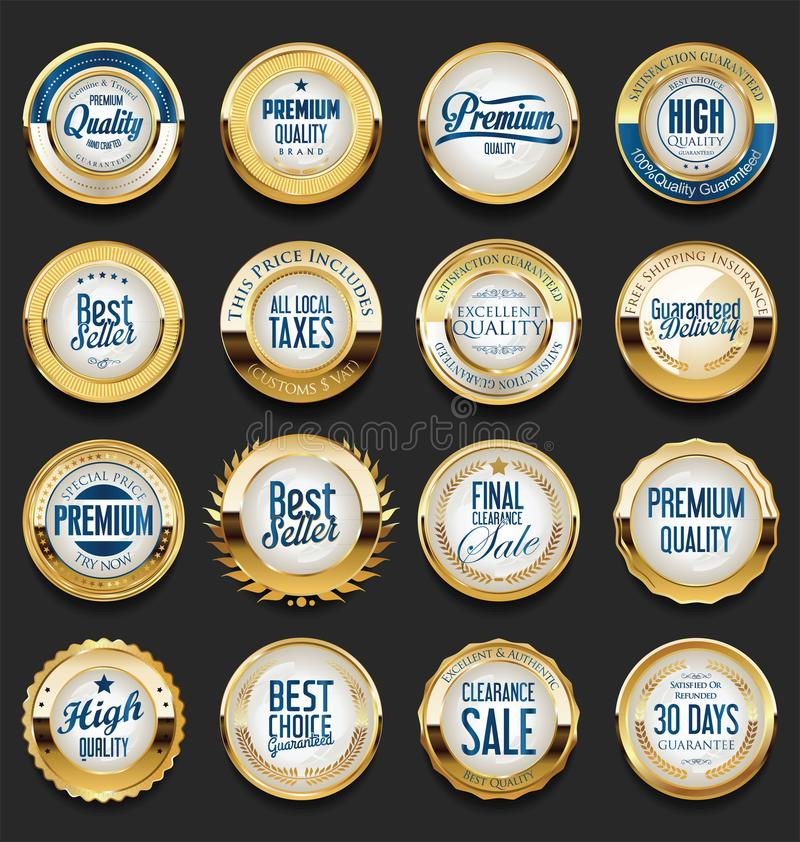 Collection of Premium Quality Labels with retro vintage design stock illustration