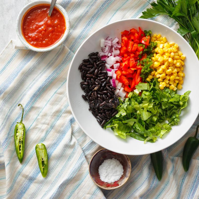 Set prepared products preparation taco salad top view royalty free stock photo