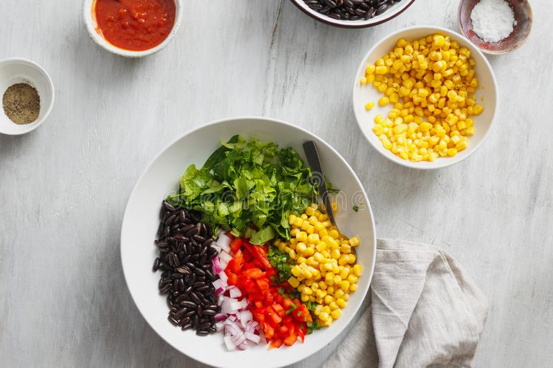Set prepared products preparation taco salad top view royalty free stock photos
