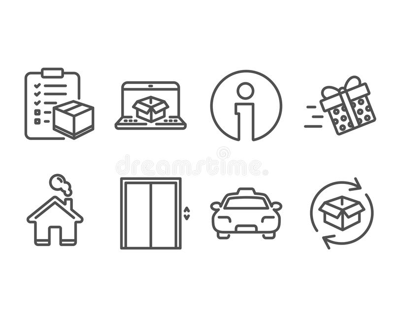 Present delivery, Lift and Online delivery icons. Taxi, Parcel checklist and Return parcel signs. royalty free illustration