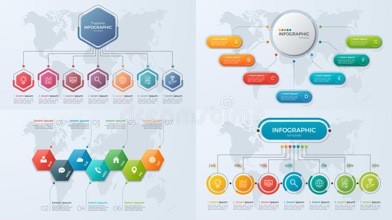 Set of presentation business infographic templates with 7 option. S. Vector illustration stock illustration