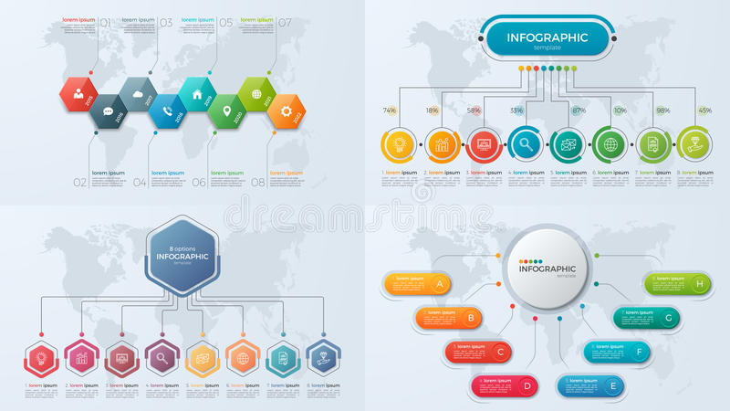 Set of presentation business infographic templates with 8 option. S. Vector illustration vector illustration
