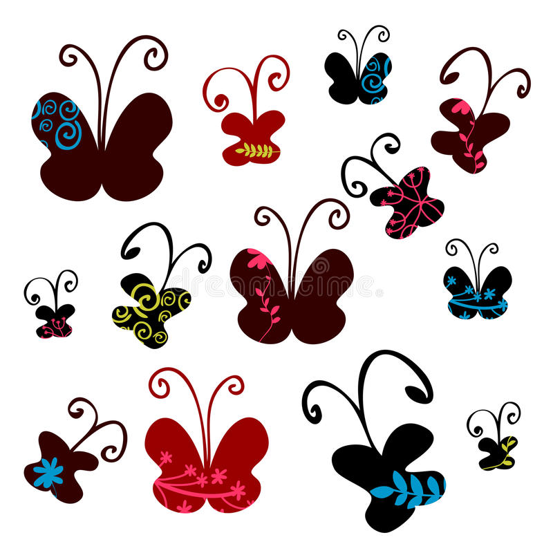 Set Of Pretty Butterflies Stock Photos