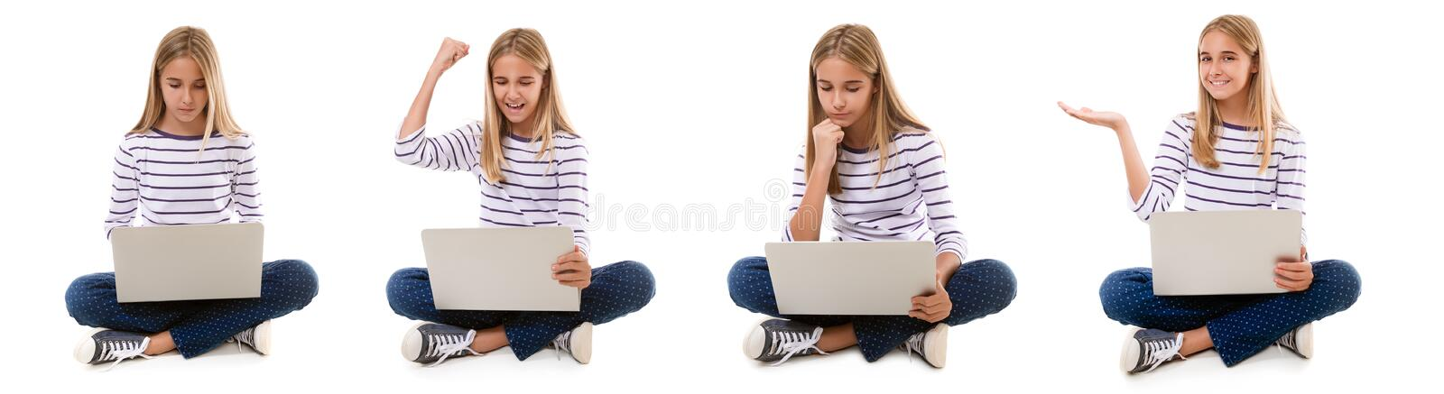 Set of pretty young girl sitting with crossed legs and using laptop isolated stock photography