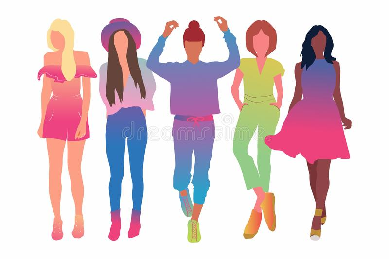 Set of pretty young women or girl dressed in stylish clothing-flat cartoon illustration. Female cartoon characters isolated on vector illustration