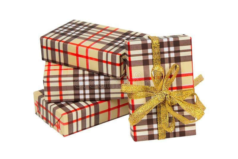 Set prezentów pudełka Brown komórka Złoty łęk i faborek obraz royalty free