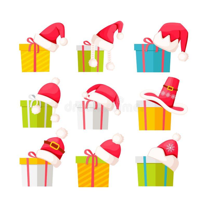 Set prezentów pudełka z Święty Mikołaj nakrętkami na bielu ilustracja wektor
