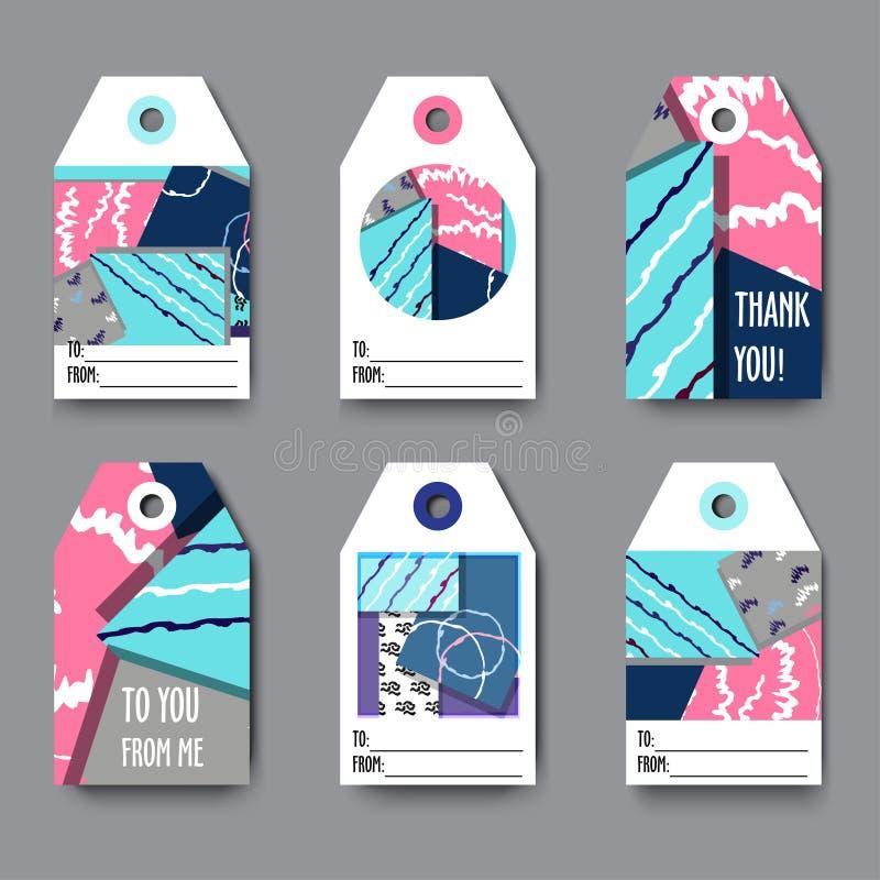 Set prezent etykietki z z geometrycznymi kształtami, abstrakcjonistycznymi teksturami i przykładu tekstem, Doskonalić dla prezent ilustracja wektor