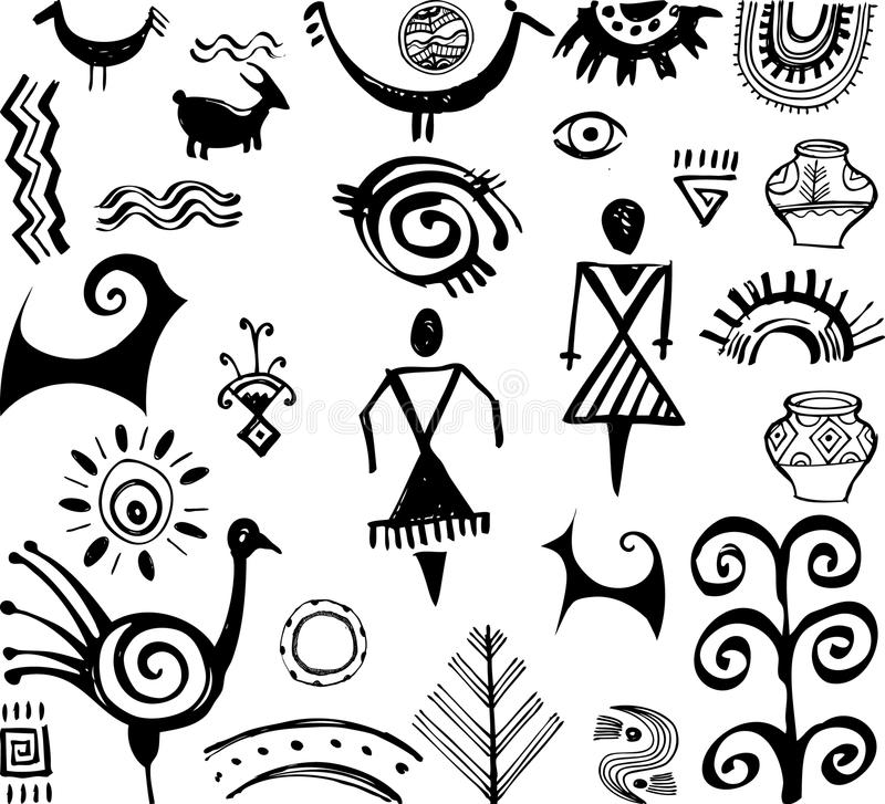 Download Set of primitive drawings stock vector. Image of animal - 32281646