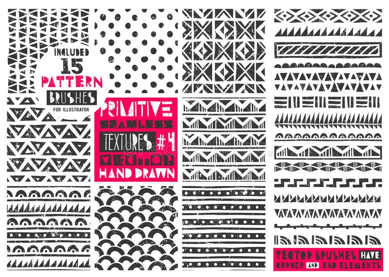 Set of 8 primitive geometric patterns collection. Tribal seamless backgrounds. Modern trendy prints. Vector illustration royalty free illustration