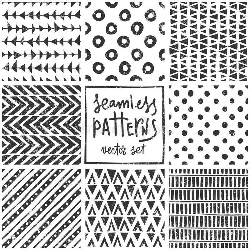 Download Set Of 8 Primitive Geometric Patterns. Tribal Stock Vector    Illustration Of Drawing,