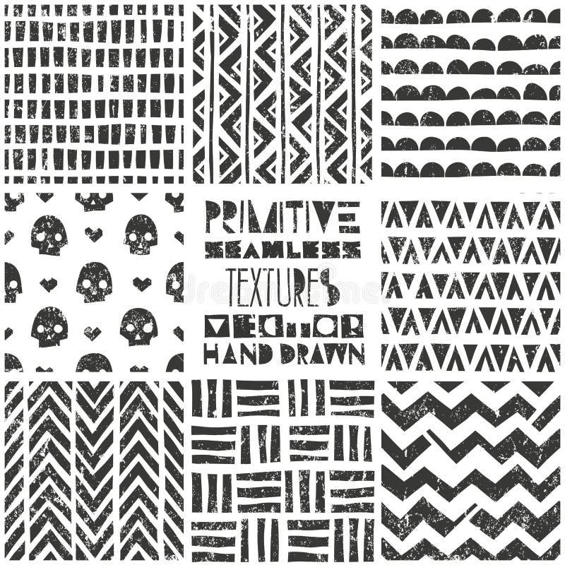 Set of 8 primitive geometric patterns. Tribal seamless backgrounds. Stylish trendy print. Modern abstract wallpaper stock illustration