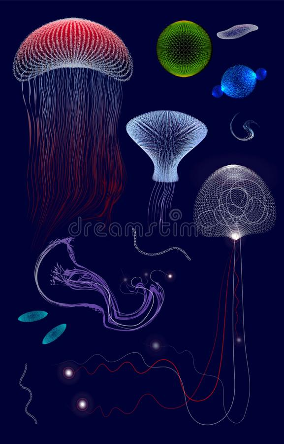 Set of primitive organisms in dark deep water, jelly,. Unicellular stock illustration