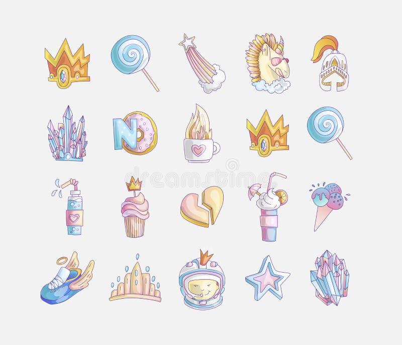 Set princess i małych dziewczynek mody śliczna ikona Uroczy wektorowy ustawiający ręka rysujący princess elementy - koktajle dla royalty ilustracja