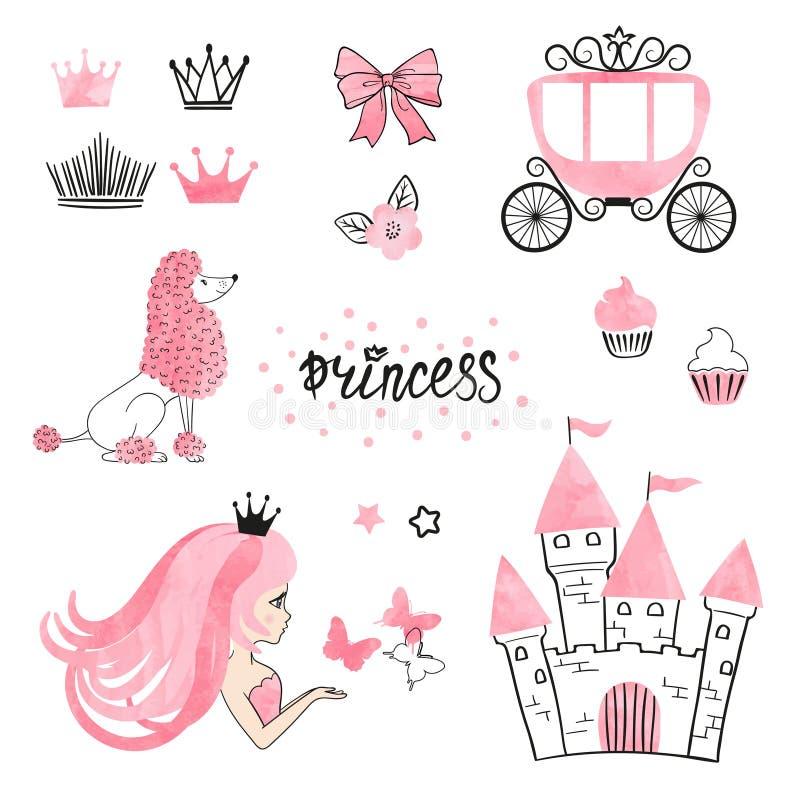 Set of Princess world design elements isolated on white. vector illustration