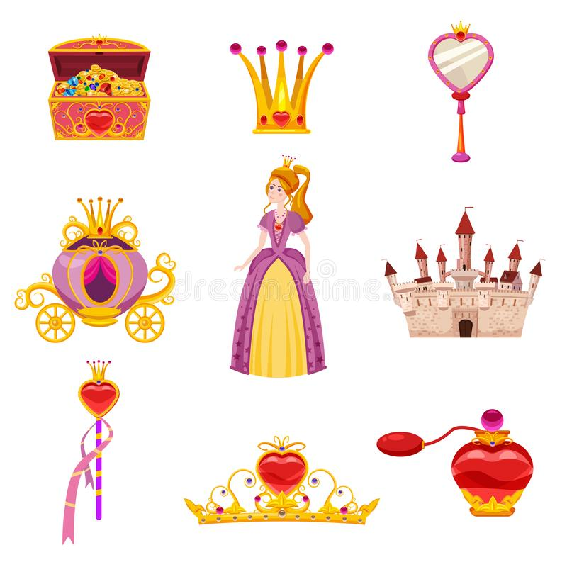 Set Princess World elements and attributes of design. Castle, mirror, carriage, a magic wand, treasure chest, perfume stock illustration