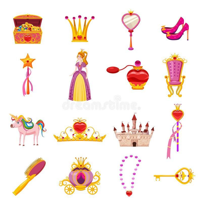 Set Princess World elements and attributes of design. Castle, mirror, throne, carriage, shoes, hairbrush, magic wand stock illustration