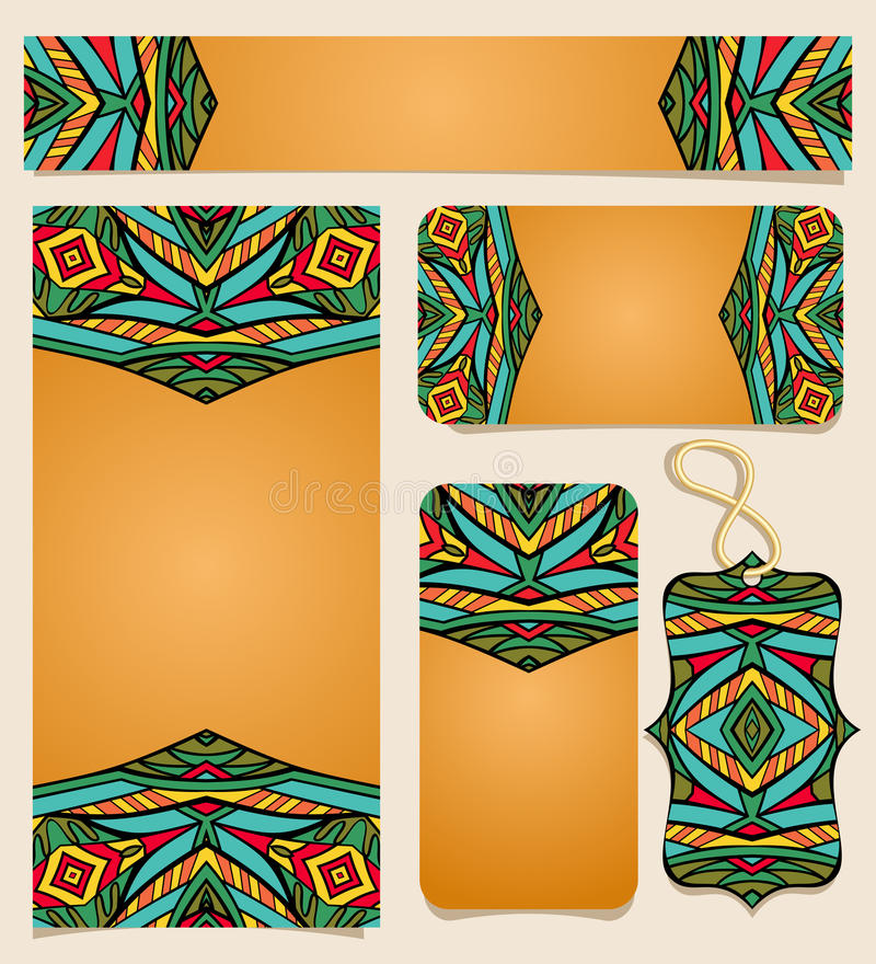 Set Of Printable Cards With Bright Mexican Pattern Stock Vector ...