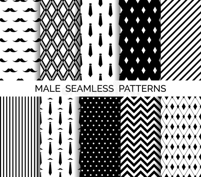 Download Set Of Printable Vector Male Seamless Patterns Black And White Backgrounds Stock