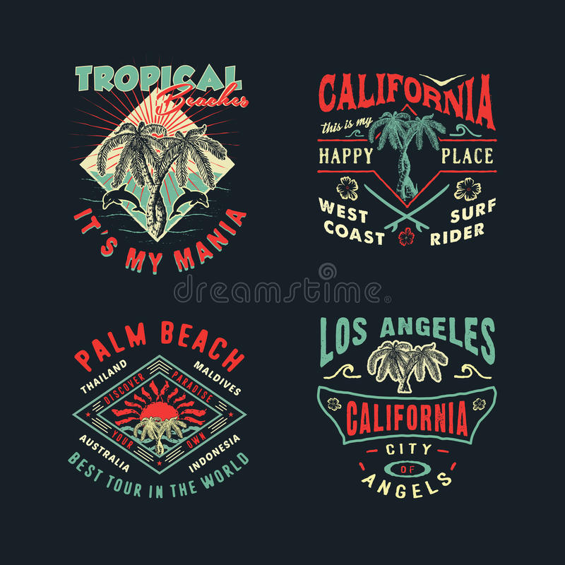 SET FOR PRINTING ON T-SHIRTS. A SET OF DRAWINGS FOR PRINTING ON T-SHIRTS. Handmade Palms trees retro style. Design fashion apparel on dark background. T shirt stock illustration