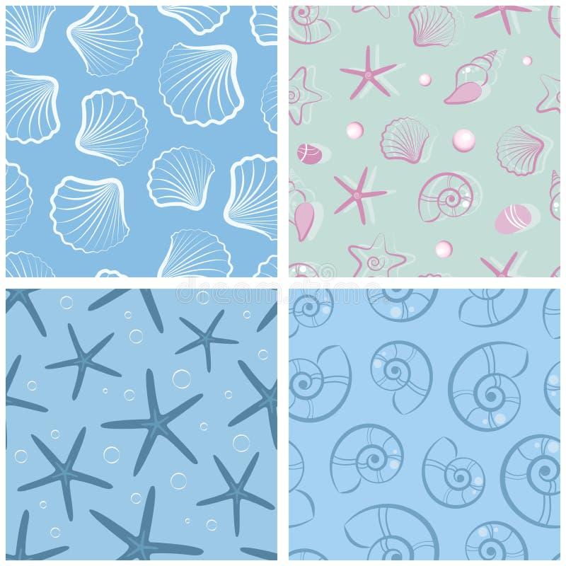 Set prości bezszwowi wzory z seashells Żywa natura wektor Set seashells ilustracji