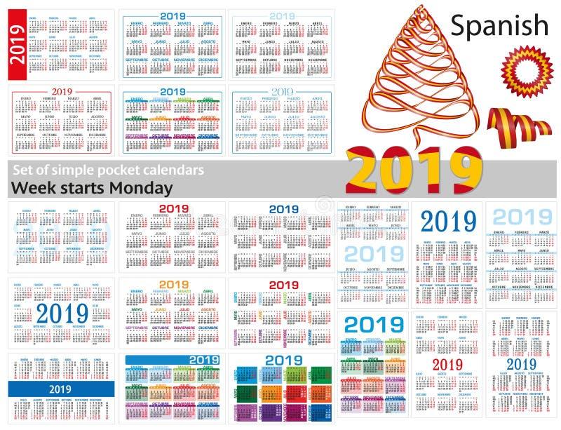Set prości kieszeń kalendarze dla 2019 Dwa tysiące dziewiętnaście Tydzień zaczyna Poniedziałek Przekład od hiszpańszczyzn - obraz stock