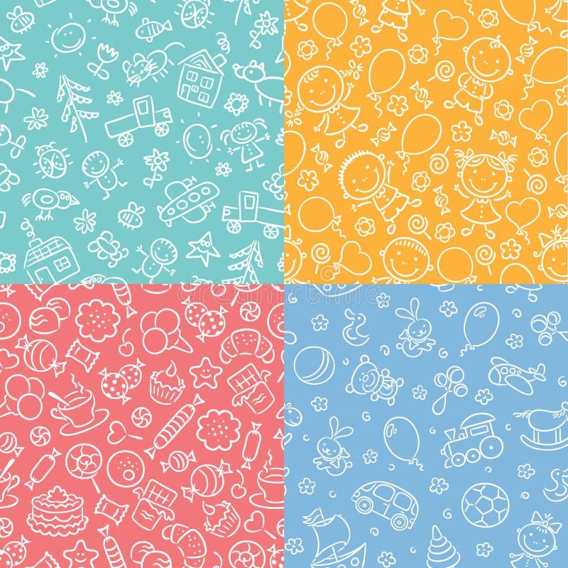 Set prości monochromatyczni bezszwowi wzory z dzieciakami, cukierki, zabawki ilustracji