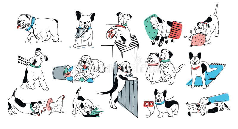 Set of problem with bad dog behaviour collection. Silly puppy barks, run off, goes to the toilet, digs in the garbage vector illustration