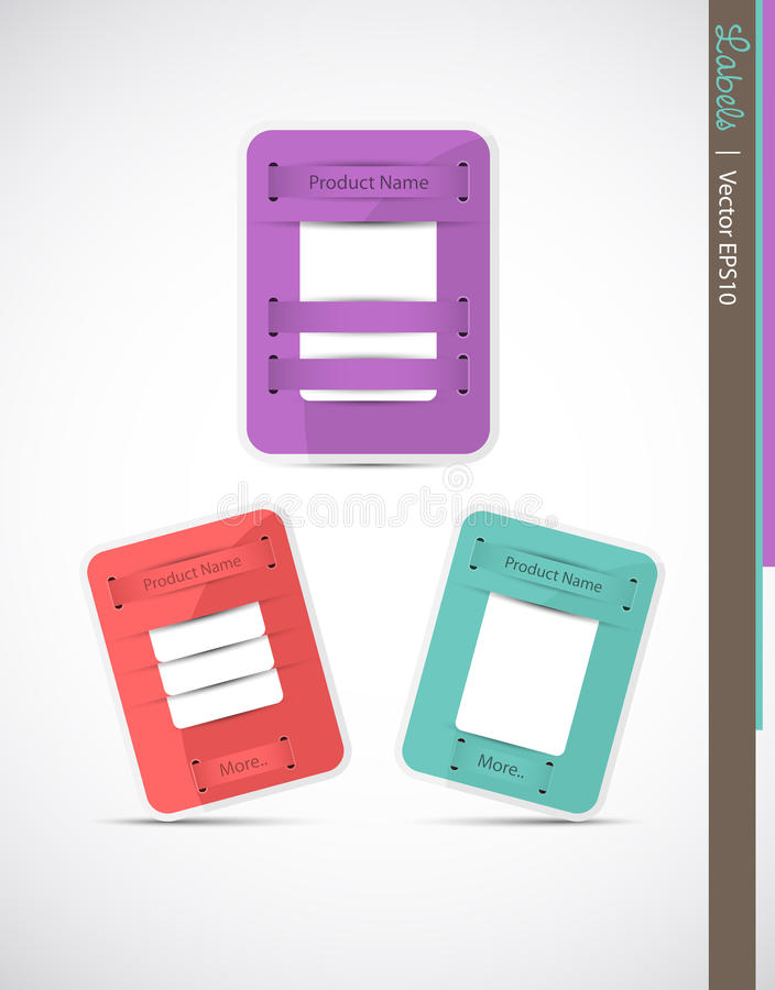 Set of product labels stock photography