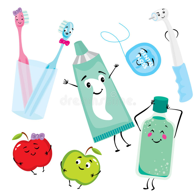 A set of products for the care of teeth and oral cavity. Dental floss, toothpaste, toothbrushes, mouthwash, drill and apples. Stom. Atology royalty free illustration