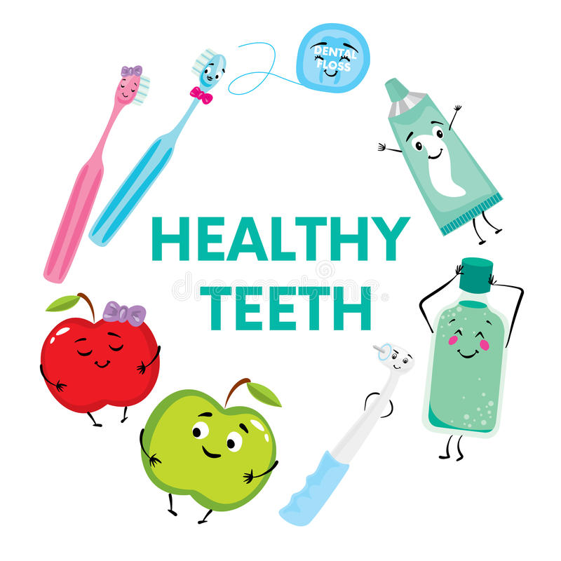 A set of products for the care of teeth and oral cavity. Dental floss, toothpaste, toothbrushes, mouthwash, drill and apples. Stom. Atology stock illustration