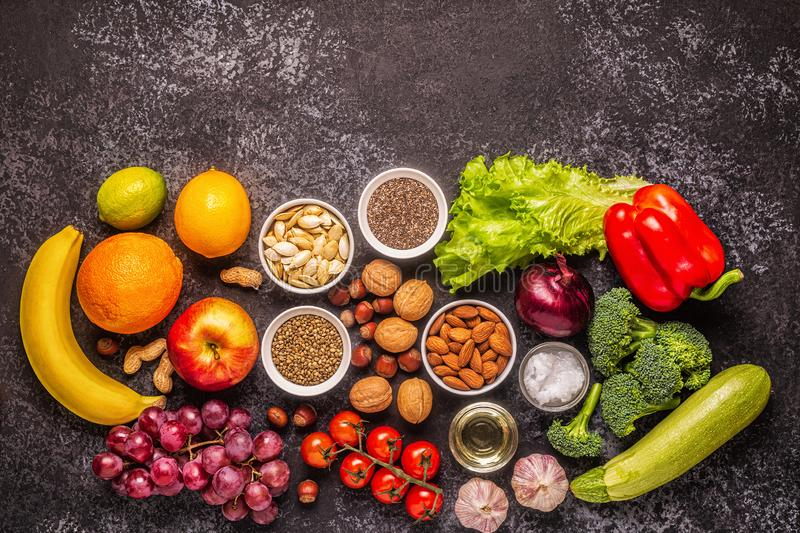 A set of products for vegetarian and vegan cooking stock image