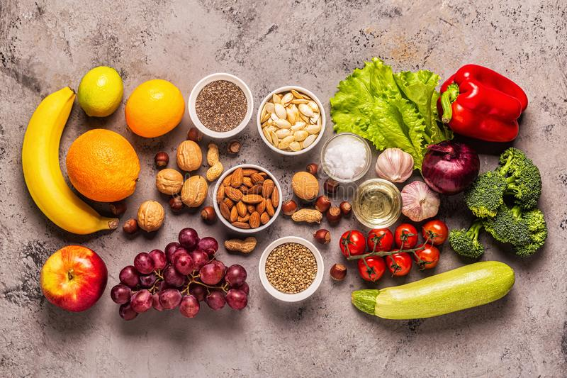 A set of products for vegetarian and vegan cooking stock photos