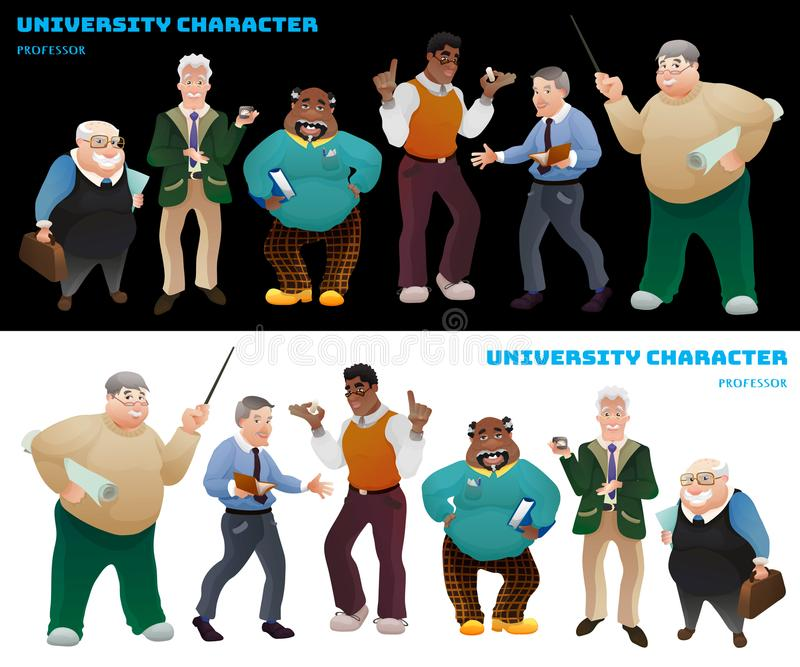Set profesorzy uniwersyteccy ilustracja wektor