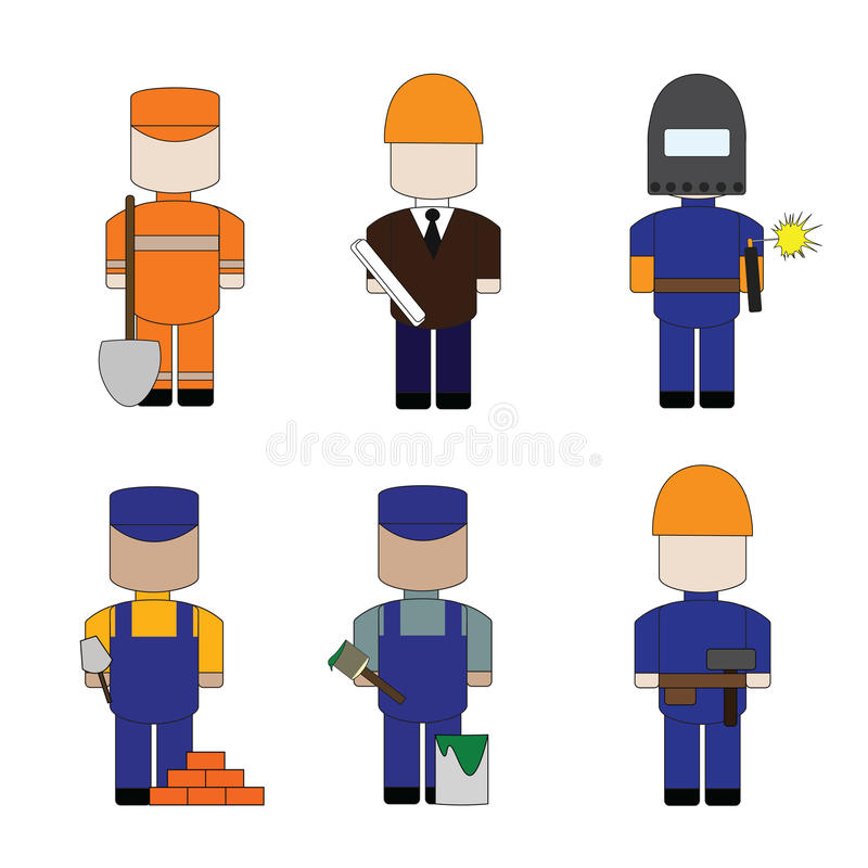Set the profession for the construction stock image