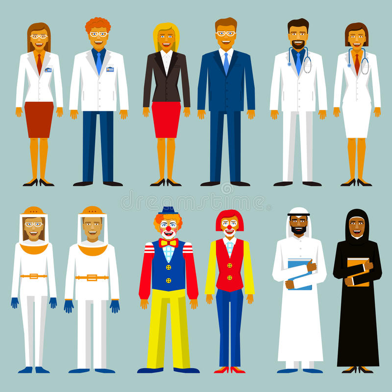Set of profession. People couple. Beekeepers, bussinesman, scientists, doctors, circus , arab men and women. vector illustration