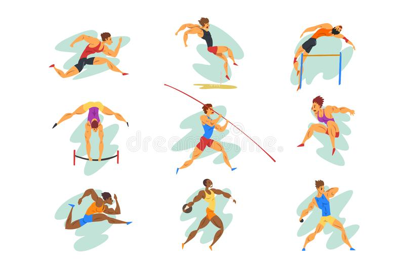 Flat vector set of professional athletes in different actions. Young muscular guys in sportswear. Active people. Olympic. Set of professional athletes in stock illustration