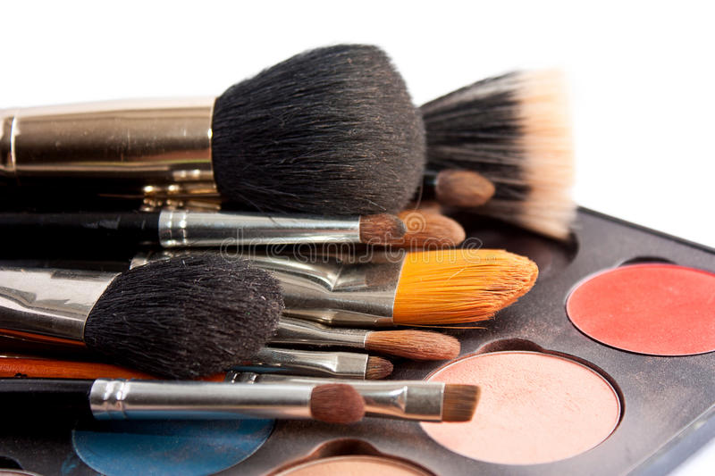 Set of professional brushes with the Pallette of shadows stock photography